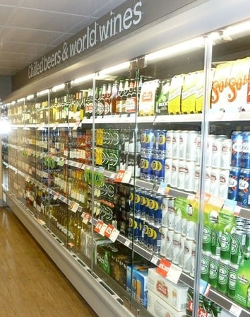 Chilled beers & word wines from your local 24 hour off licence