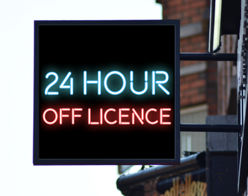 24 Hour Off Licence Sign